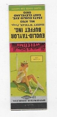 WWII Pin Up Matchbook Cover EUCLID-TAYLOR BUFFET INC East Cleveland OH #761
