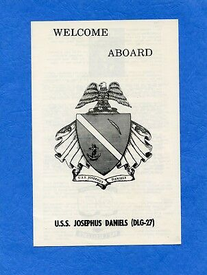 USS Josephus Daniels DLG 27 Welcome Aboard Navy Ceremony Program #2