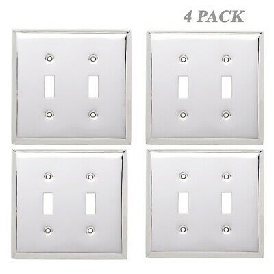 Hampton Bay W10223-PC-U Stamped Decorative Double Switch Plate Polished Chrome