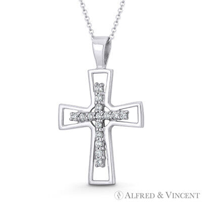 Pattée Formée & CZ Crystal Latin Cross 14k White Gold 23x14mm Christian Pendant