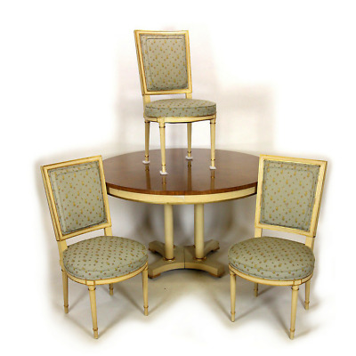 French Provincial Vintage Baker Furniture Round Dining Table 2 Leaves & 3 Chairs