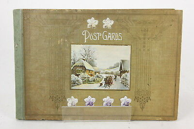 Vintage Post Cards Album 35 Pages Marked 'Germany' 48 Post Cards Inside