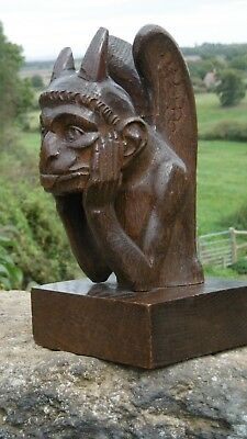 SUPERB 19thc GOTHIC OAK CARVED FIGURE OF A WINGED & HORNED GOBLIN/IMP