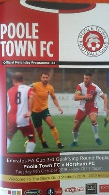 Poole Town v Horsham  9th October  2018 FA Cup Match Programme