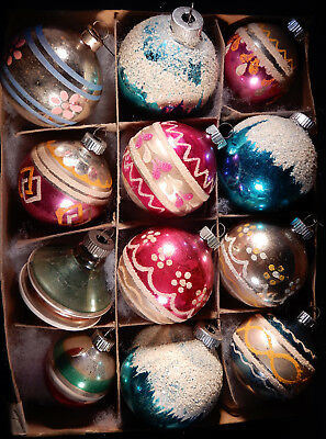 Lot of 12 Vintage Mercury Glass Mica Shiny Brite Christmas Ornaments