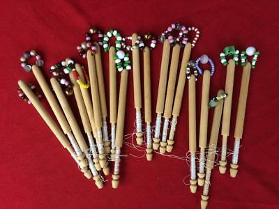 19 Wooden Bobbins for Lace Making, all with Spangles