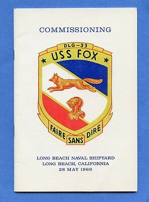 USS Fox DLG 33 Commissioning Navy Ceremony Program