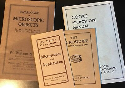 16 Various Microscope Catalogs & Articles + Stamps & Photos