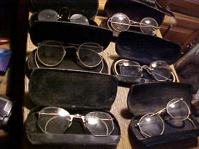 Vintage antique old glasses eyeglasses spectacles,6 pair in hard cases
