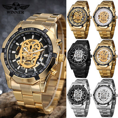 Mens Fashion Luxury Automatic Wrist Watch Mechanical Skeleton Dial Watches Gifts