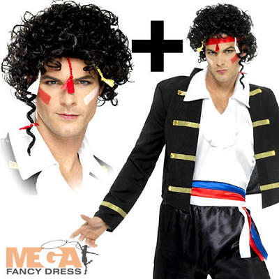 80s New Romantic Wig Mens Fancy Dress Adam Ant Celebrity 1980s Adults Costume