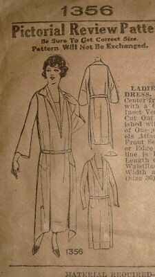 Antique Pictorial Review 1910s WWI Dress Pattern #1356 Downton Abby 38 Bust