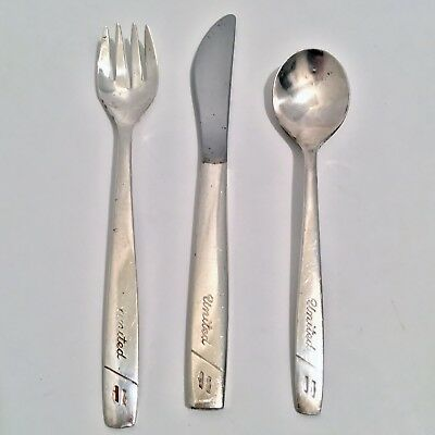 Vintage United Airlines Flatware Knife Fork Spoon 3 Pieces International Silver