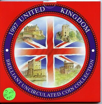 1997 United Kingdom Brilliant Uncirculated Coin Collection UK Pence Pound JB159