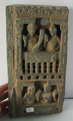 Hellenistic Greek [340 BC]. 4 women looking out of house. Made  schistose stone