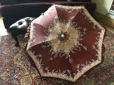 Vintage 1970s Women's Brown & White Floral Print Frilly Umbrella