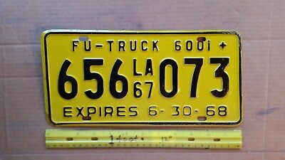 License Plate, Louisiana, 1967, FU Truck, 656 073