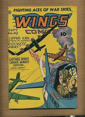 Wings Comics 49 (GVG) 1944 Fiction House Greasemonkey Griffin WWII cvr (c#08705)