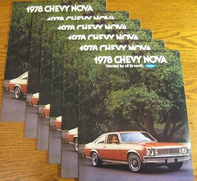 1978 Chevrolet Nova Sales Brochure LOT (6) pcs, Xlnt GM 78 Hatchback Coupe Sedan