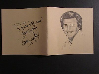 entertainer BOBBY RYDELL signed & inscribed card. Open 5 1/2 x 11 VINTAGE NICE