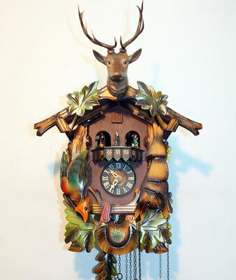 Old Cuckoo Clock Wall clock Black Forest with CARILLON MUSIC BOX  and 1 MELODIE