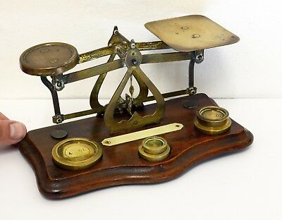 Lovely Vintage Brass Postal Scales with Wooden Base and Accompanying Weights