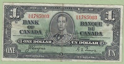 1937 Bank of Canada One Dollar Note - Coyne/Towers - S/N1785003 - VF