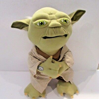 """STAR WARS TALKING """"YODA"""" PLUSH 17 IN. TALL Says 6 Phrases Mouth Moves Stuffed"""