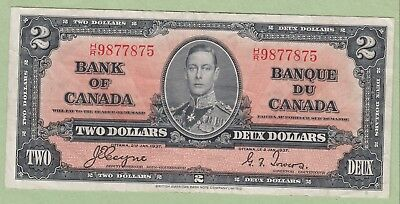1937 Bank of Canada 2 Dollar Note - Coyne/Towers - H/R9877875 - VF