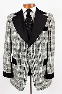 Vintage After Six 40L Mens Black & White Plaid Metallic Tuxedo Dinner Jacket 259