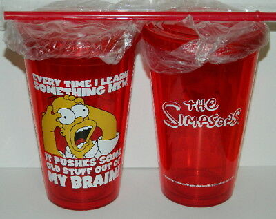 The Simpsons Homer MY BRAIN Panic Red 16 oz Acrylic Travel Cup with Straw UNUSED