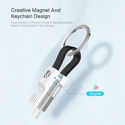 2PCS 3in1 Mini Keychain Lightning USB Cable Micro Type C For iPhone iPod