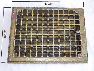 """Vintage Cold Air Return Floor Grate With Louvers - 13 7/8"""" x 10 3/8"""""""