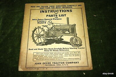 1936 John Deere Model B Instruction Manual And Parts List 40 Pages Original