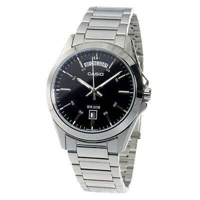 NEW Casio MTP1370D-1A1 Men's Watch BLACK DIAL SS Silver Marking, Day and Date In