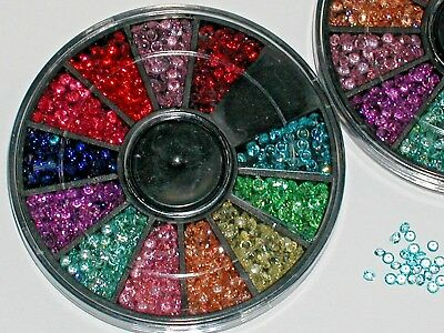 300pc+ Crystals Set Lot rainbow Mix Wheel for bottle case vial crafts Kit 2mm NW