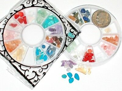60pc+ Lot rainbow Mix gem stone Wheel for bottle case vial craft Kit 2-6mm wheel