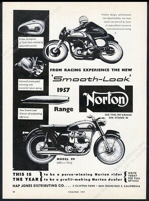 1957 Norton model 99 motorcycle photo vintage print ad