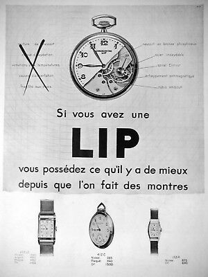 AD PRINT Original 1932 Chronometer watch LIP nickel silver or gold