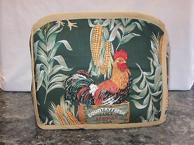 Chickens & corn on green cotton fabric Handmade 2 slice toaster cover