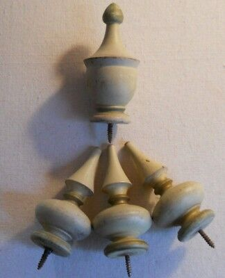 4 Vintage Gray + Gold Shabby Painted Wood Finials Caps Turned Wood
