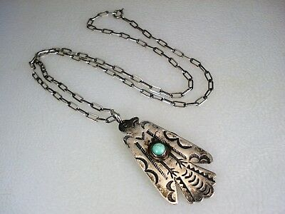 """OLD Fred Harvey era STERLING SILVER & TURQUOISE THUNDERBIRD PENDANT w/ 18"""" chain"""