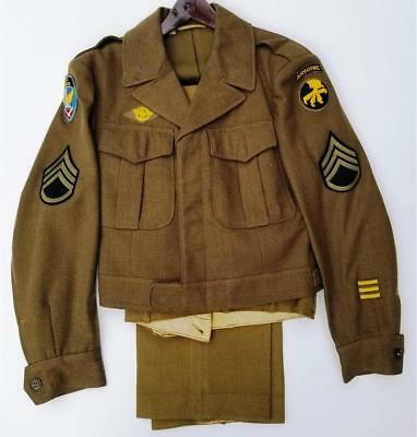 Original WWII US Army 17th Airborne IKE Jacket & Pants Set-Named, Not Researched