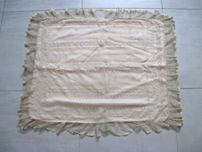 Antique embroidery tulle beige lace top and rose silk large pillow cushion case