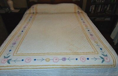 Vintage White Cotton Chenille Bedspread Floral Pink & Blue Flowers Yellow Border