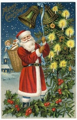 SANTA CLAUS Ringing CHRISTMAS BELLS Postcard TREE with Lit Candles c 1910