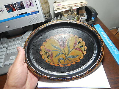 Antique Toleware Tole Ware Hand Painted Tray Tulip flowers Tin Platter