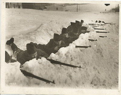 Ww1 Press Photo- 57Th Reg.- Canada Drilling In Snow Trenches Of Abraham