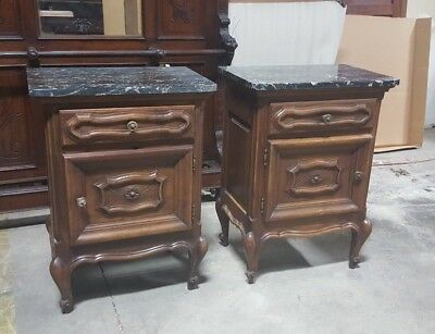 Pair of Italian Baroque Walnut Nightstands with Marble Tops