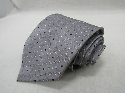 Dunhill Men's 100% Silk Gray Hexagon Polka Dot Neck Tie Made in England